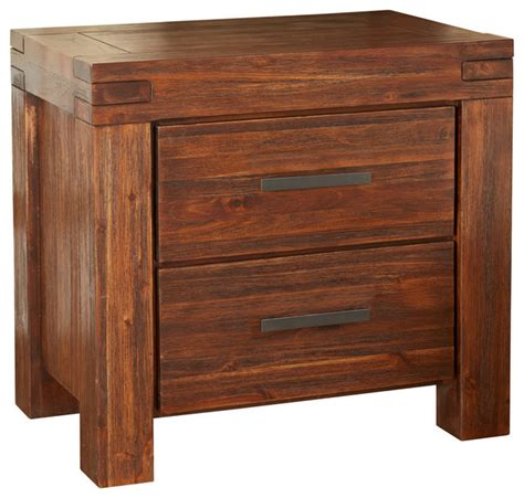 Meadow 2 Drawer Wood Nightstand, Brick Brown