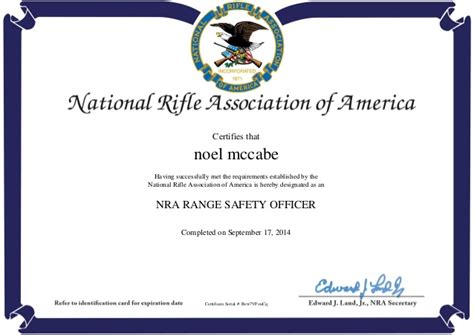 nra certificate template nra range safety officer completion certificate
