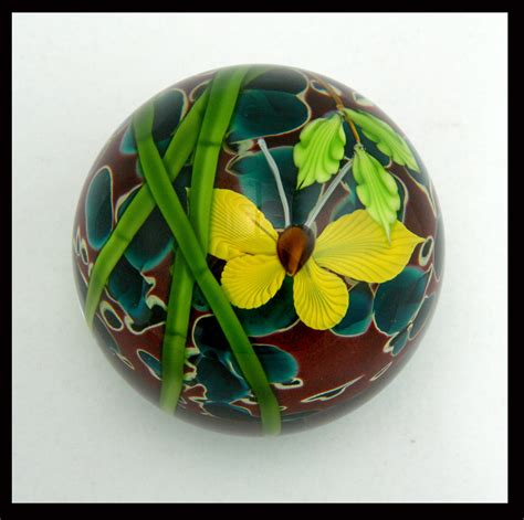 Glass Paper Weight - bamboo and butterfly paperweight by mayauel ward