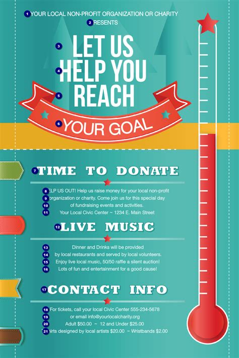 Fundraiser Poster Template fundraising thermometer poster ticketprinting