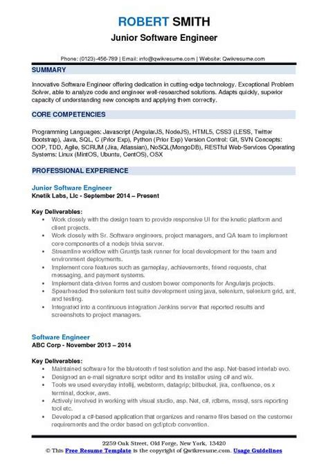 software engineer resume format pdf junior software engineer resume sles qwikresume