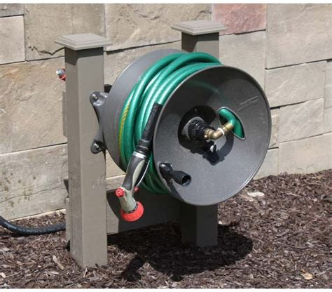 Garden Hose Post Wall Mount Garden Hose Reel 150 Ft Rapid Reel But
