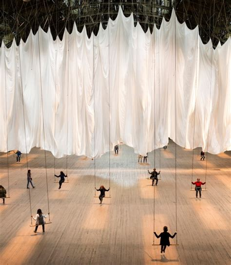 swing events indoor swing set installation encourages communal play psfk