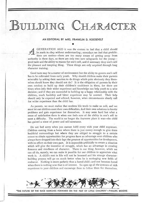 Eleanor Roosevelt Essay by Eleanor Roosevelt Building Character