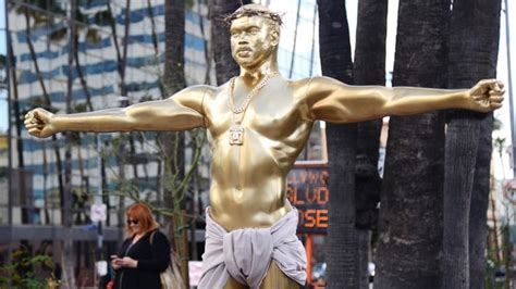 why did a giant kanye west oscar statue appear in l a