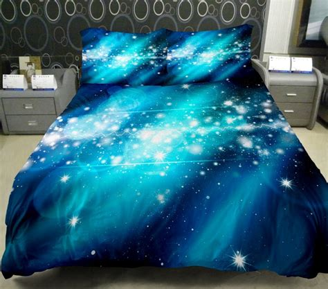 3d Duvet Cover Printing Galaxy On Blue Sheets And Outer Outer Space Bedding Set