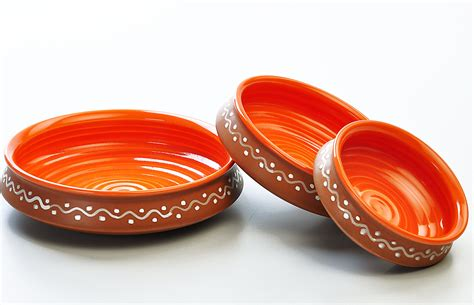The Linen Store And Home Decor terracotta and orange urli serving set set of 3 from the