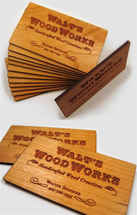 woodworks company wooden business card cardobserver