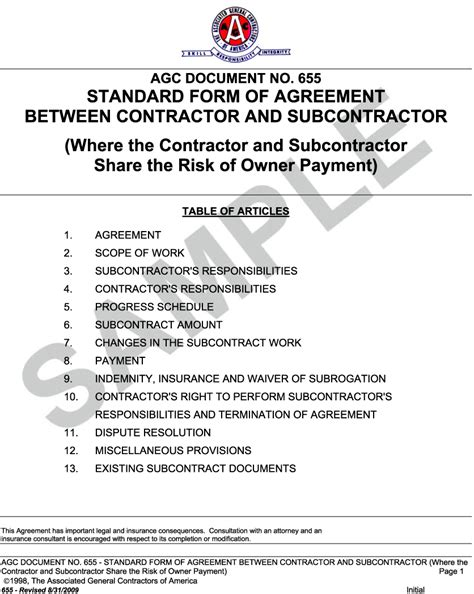 Construction Contract Letter Of Credit Appendix L Agc Document 655 Standard Form Of Agreement Between Contractor And Subcontractor
