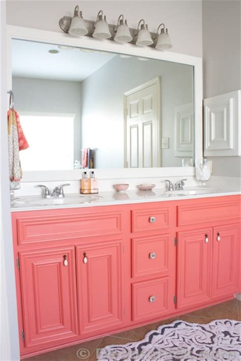diy painted coral vanity decorchick
