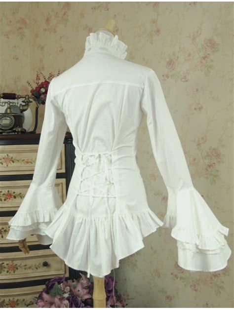 white long sleeves gothic blouse  women devilnightcouk