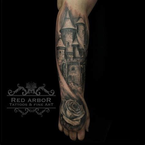 narnia inspired castle and rose by cory claussen tattoos