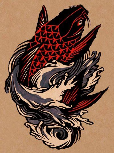 koi fish tattoo red and black black and red koi fish tattoo design by eleanor lutz