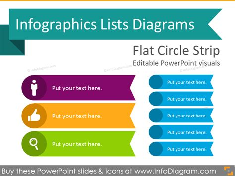 Infographics List Ppt Diagrams Circle Strips Icon Flat Powerpoint Powerpoint List Templates
