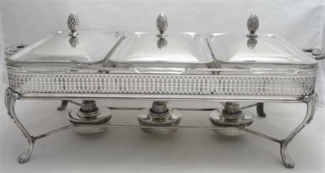 vintage silver plate buffet server table top food warmer
