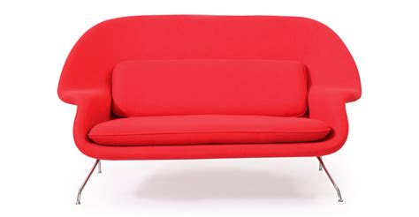 womb sofa womb mid century modern loveseat sofa cherry red danish
