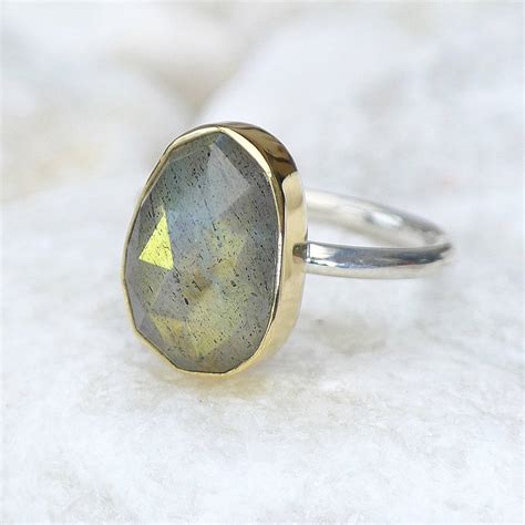 labradorite ring in 18ct gold and silver by lilia nash