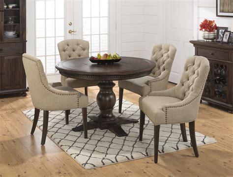 jofran webber 6 piece round pedestal dining room set in jofran geneva hills round to oval table with pedestal base