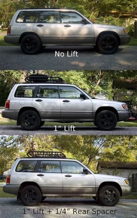 1999 subaru forester lifted lifting a subaru w 1 inch lift 1 4 inch spacer ben