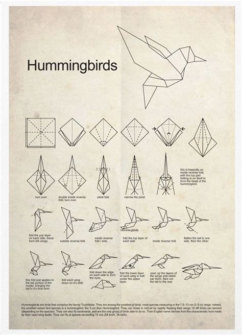 How To Make A Paper Hummingbird - hummingbird origami poster print origami 3d gifts