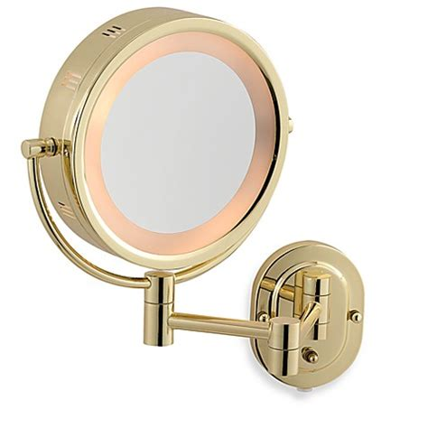 Buy Jerdon 5x 1x Brass Lighted Wall Mount Mirror From Bed Brass Bathroom Mirrors