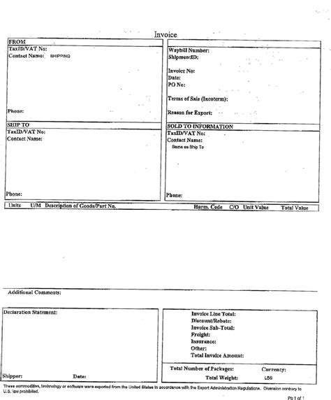 ups commercial invoice template commercial invoice form ups images frompo
