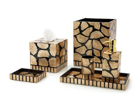 s 6 capiz bath accessories gold black