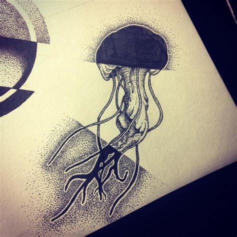 mandala jellyfish tattoo exiting dotwork jellyfish in shadows tattoo design