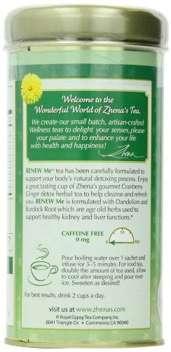 Renew Detox Tea by Zhena S Renew Me Detox Tea 1 29 Oz 22 Count Buy