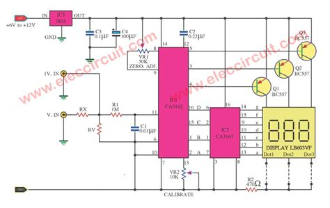digital voltmeter circuit diagram simple digital voltmeter circuit diagram by ca3162 ca3161