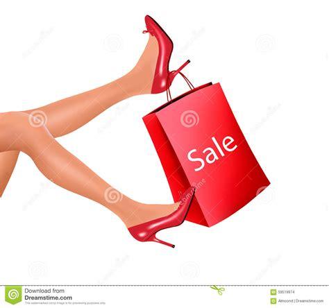 high heel shopping shopping wearing high heel shoes stock photo image