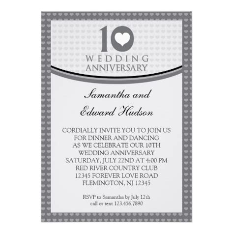 10th wedding anniversary invitation wording 10th wedding anniversary invitation 5 quot x 7