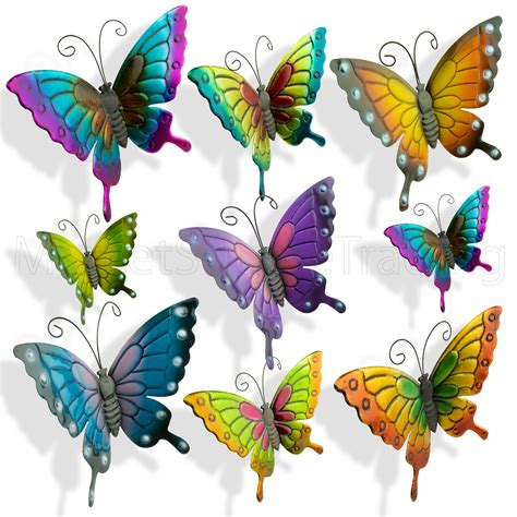 Butterflies Garden Decoration Multi Coloured Metal Outdoor Butterfly Garden Wall