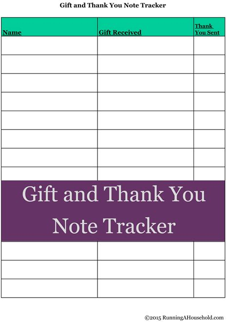 Gift Card Tracker - printable thank you note tracker archives running a household