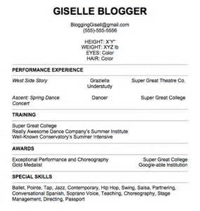 Sample Dance Resume For Audition by Pull It Together Giselle She Blogs To Keep From Losing It