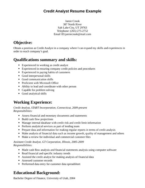 Credit Cv Template Professional Credit Analyst Resume Template