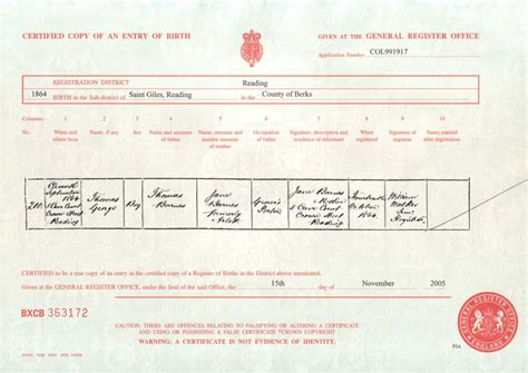 full birth certificate walsall full birth certificate exle uk image collections