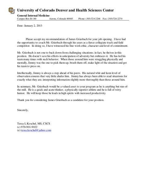 uw biography form letter of recommendation for james griesbach