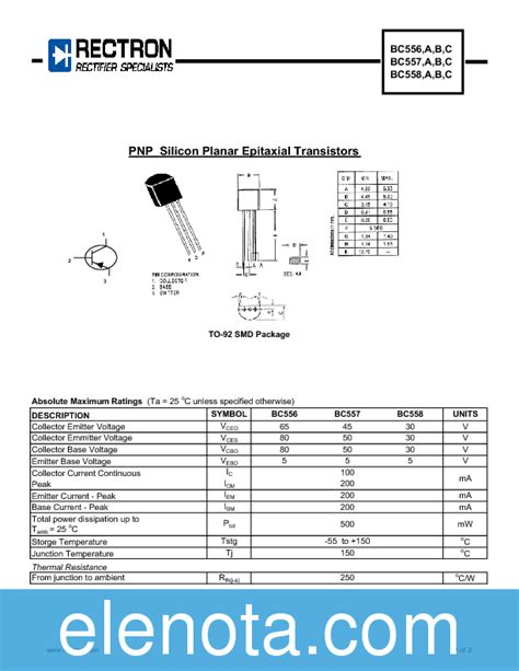 bc557b transistor bc557b t datasheet pdf 86 kb rectron pobierz z elenota pl