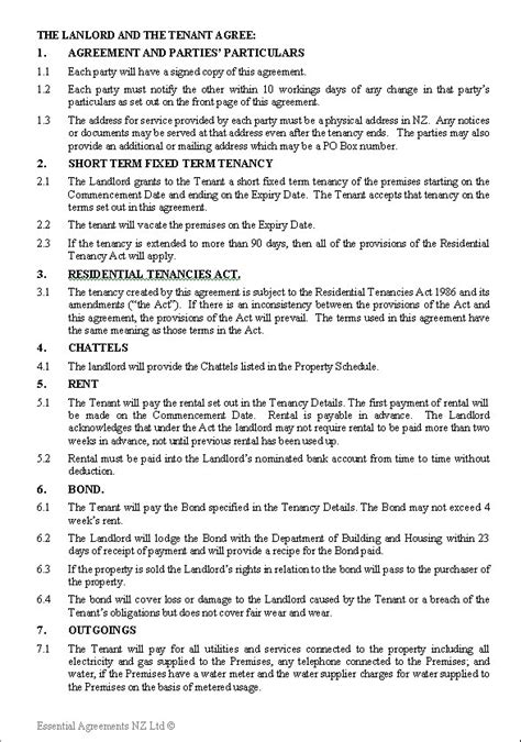 printable tenancy agreement nz tenancy agreement template tenancy rental agreement form