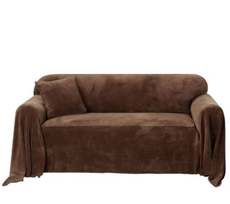 throw cover for couch sure fit plush sofa throw cover qvc com