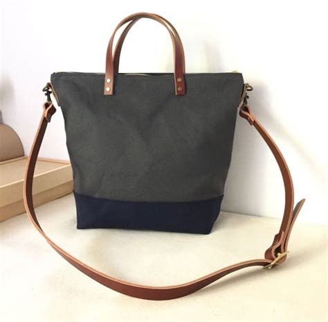 Tote Bag Book Custom Tote Bag Water Resistant Tahan Air custom bag commuter bag in charcoal grey and blue water resistant waxed canvas and leather