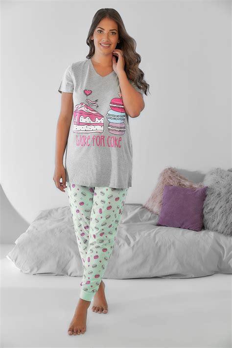 minzgr 252 n und farbige macaroon druck pyjamahosen