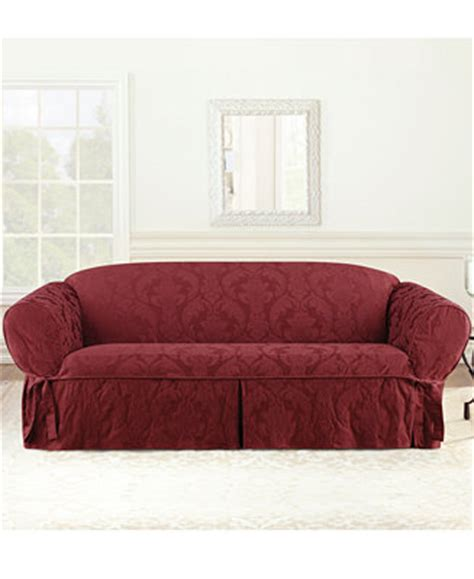 sure fit matelasse damask 1 piece sofa slipcover