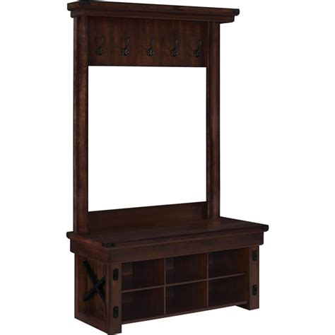 entryway hall tree wood veneer entryway hall tree with bench in mahogany