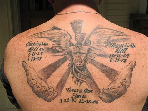 in loving memory tattoo designs memorial on back