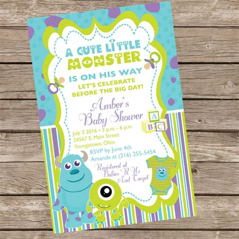 Inc Baby Shower Invitations by Monsters Inc Baby Shower Invitation By Trishatreedesigns