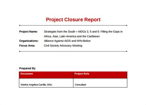 Project Closure Report Template 10 Documents In Pdf Word Simple Project Closure Report Template
