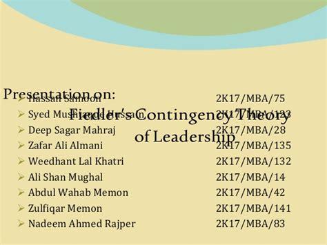fielder contingency theory  leadership  hassan samoon