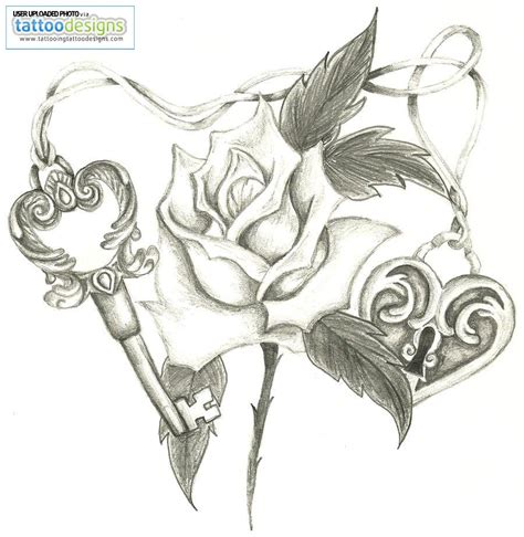 heart rose tattoo designs and lock design for